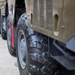 The big wheel of a military truck — Stock Photo
