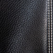 Black leather background stitched up by — Stock Photo