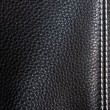 Stock Photo: Black leather background stitched up by