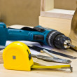 Joiner's tools lying on a workbench — Stock Photo