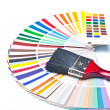 Paint brush on color guide - Stockfoto