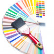 Paint brush on color guide — Stock Photo
