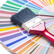 Paint brush on color guide — Stock Photo #1038002