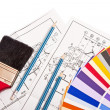 Pencils, drawings, color guide on white — Stock Photo #1038026