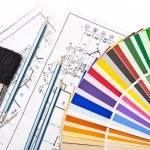 Paint brush, pencils, drawings — Stock Photo
