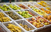 Fruit and vegetables section supermarket — Stock Photo