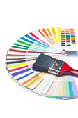 Paint brush on color guide — Stok fotoğraf