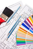Pencils, drawings, color guide on white — Stock Photo