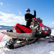 Competitions on snowmobile — Stock Photo