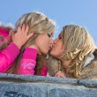 Stock Photo: Two girlfriends blondes kiss
