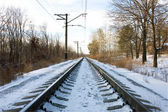 Rails of the railway in the winter — Stock Photo