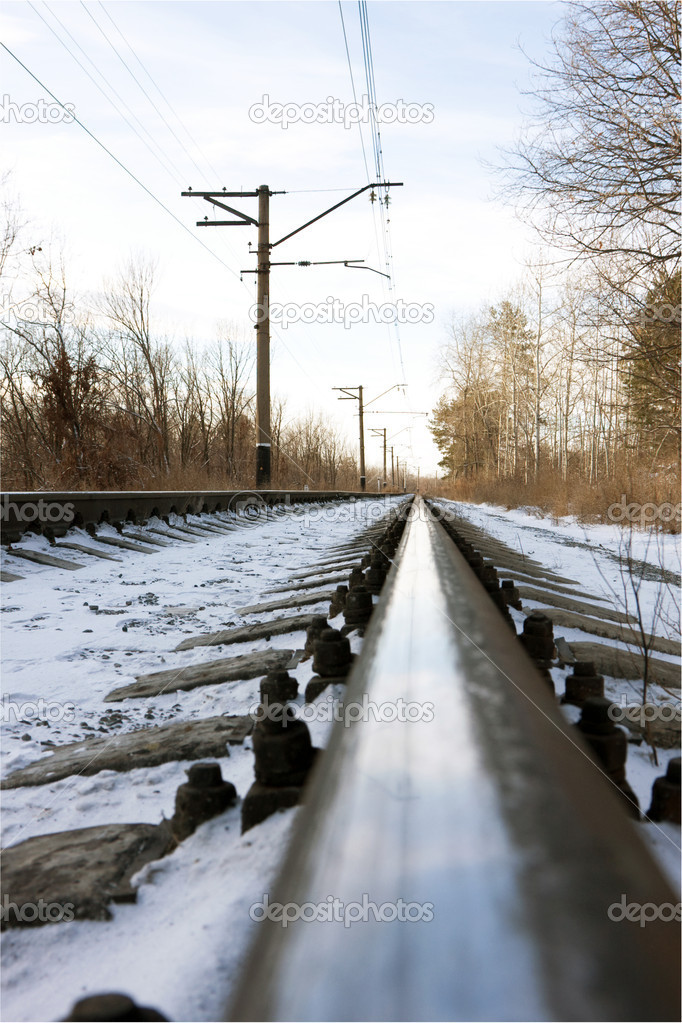 Rails of the railway in the winter — Stock Photo #1085295