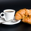 White cup coffee, spoon and croissant — Stock Photo