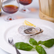 Fresh Oyster on a dish with ice — Stock Photo