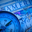 Compass on an ancient map America. — Stock Photo