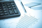 Calculating finances.Cold tone. — Stock Photo