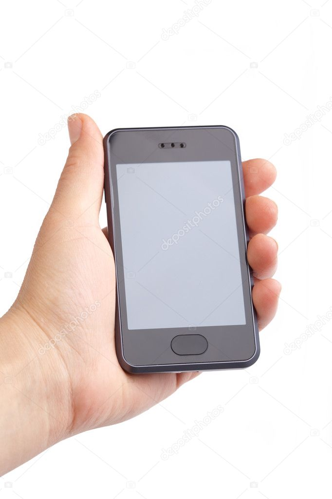 Hand holding modern smart phone on white — Stockfoto #1908039