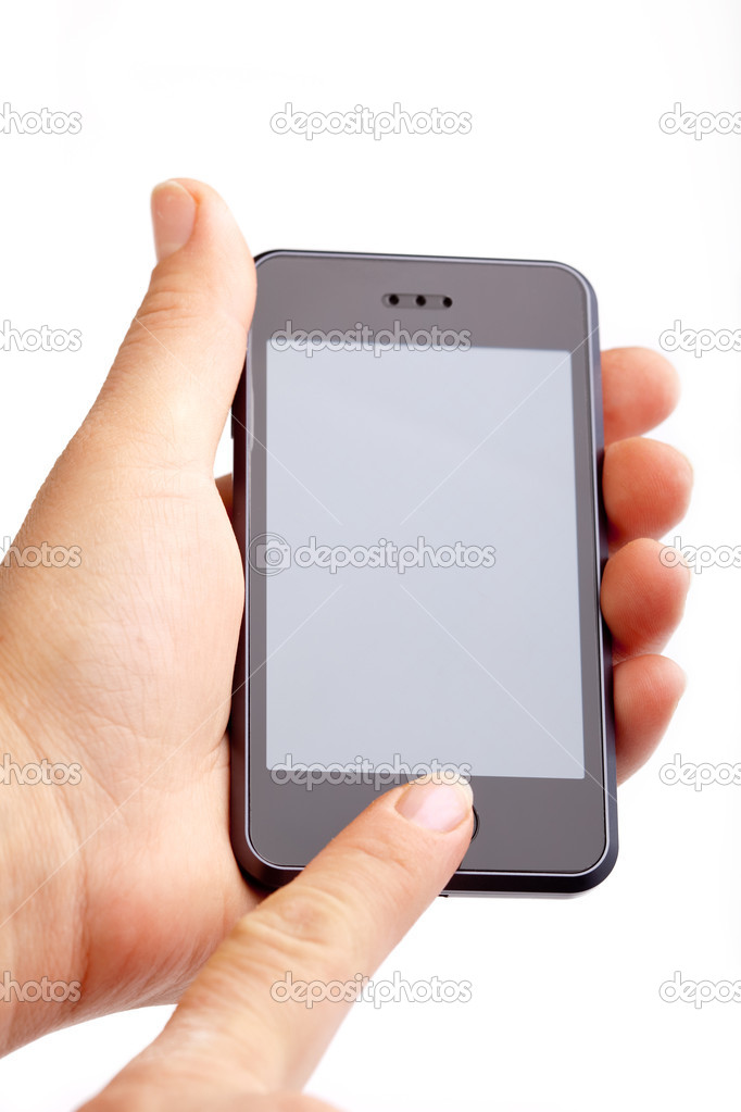 Hand holding modern smart phone on white — Stock Photo #1908096