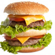 Stock Photo: Big fresh delicious double hamburger
