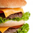 Big fresh delicious  double hamburger — Stock Photo