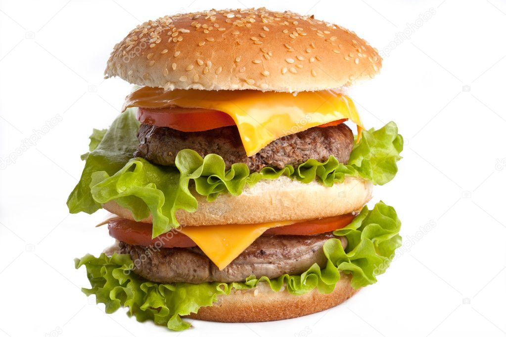  Big fresh delicious homemade double hamburger   Stock Photo #2049709