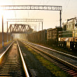 Railway on sunset — Stock Photo