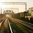 Railway on sunset - Stock Photo