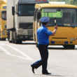 Policeman on the road — Stockfoto