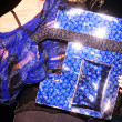 Blue shiny handbag — Foto de Stock