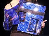 Blue shiny handbag — Stock Photo
