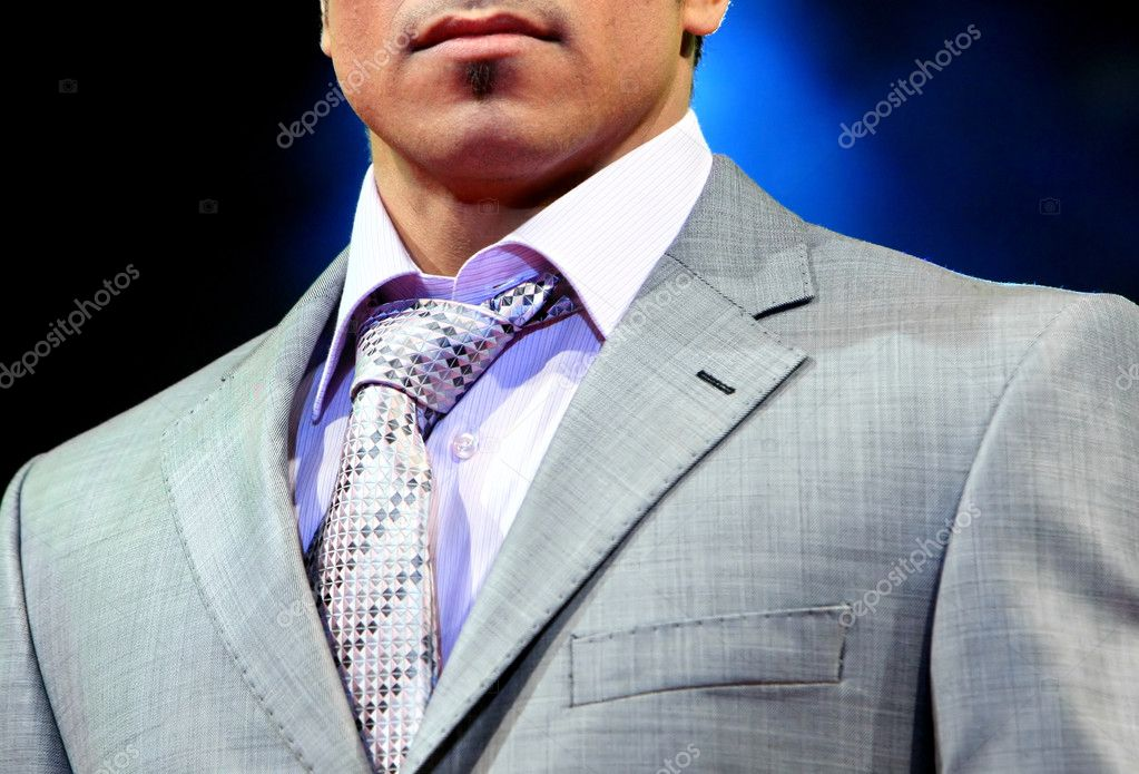 Unusual tie. Detail of a bussinesman stylishly suit.  — Stock Photo #1025859