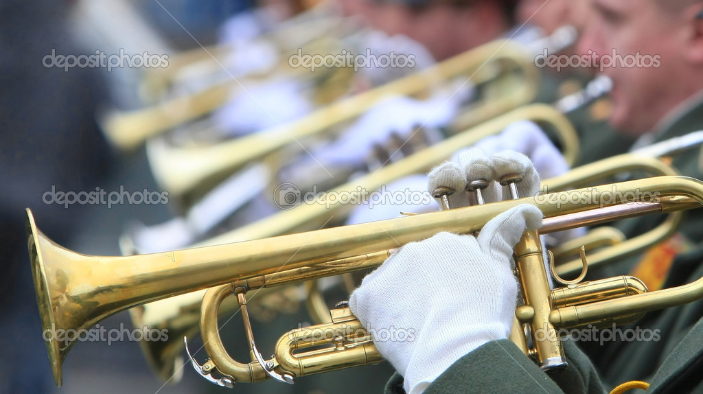 Hands of musicians with trumpets (selective focus)  Stock Photo #1025902