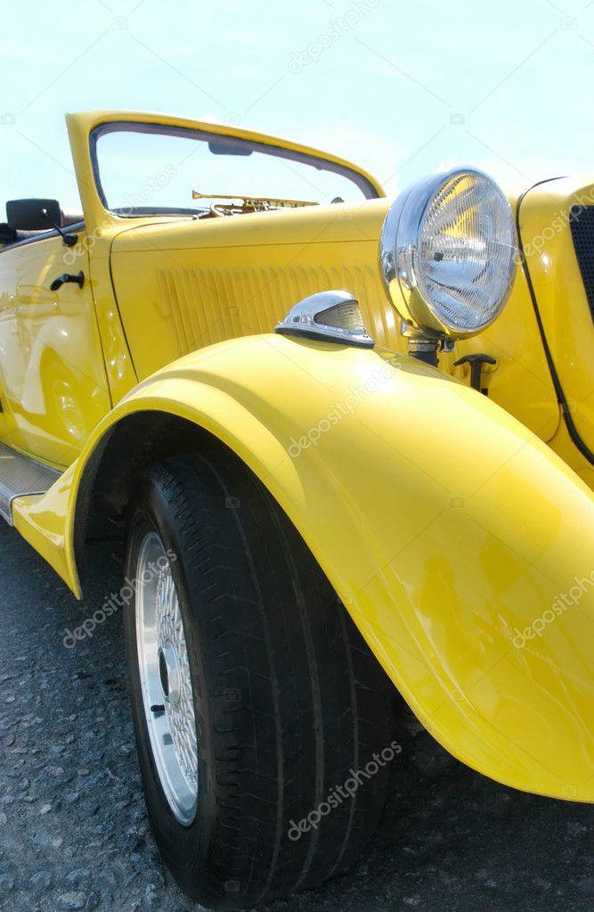 Large Stock Photo: Classic yellow car
