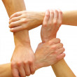Linked hands — Stock Photo