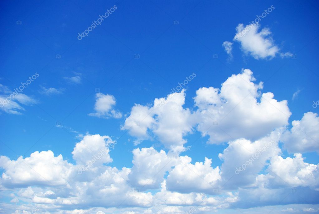 Blue sky background with a tiny clouds — Photo #1207688