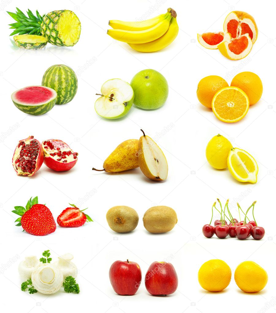  large page of fruits on white background  Stock Photo #1595297
