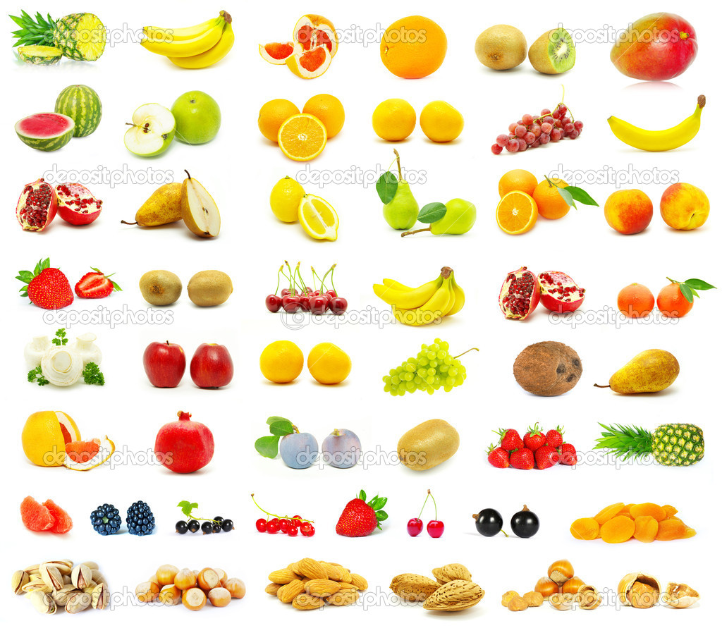large page of fruits on white background — Photo #1623858