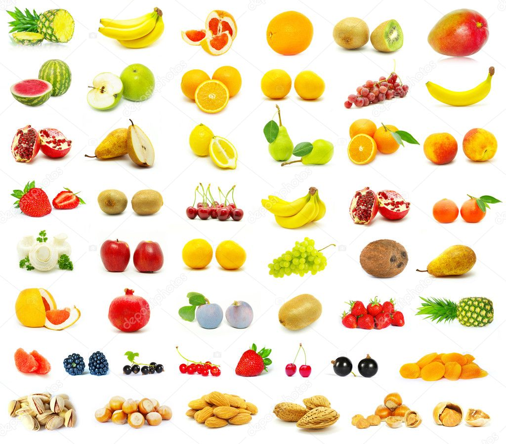 large page of fruits on white background  Foto de Stock   #1623858