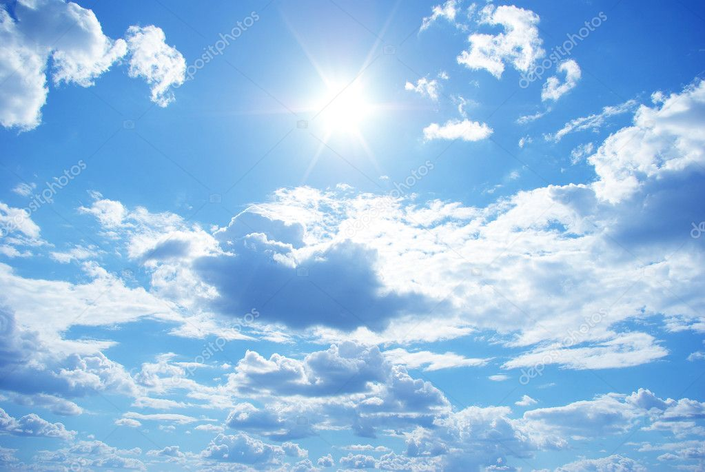 Sun in a blue cloudy sky  Photo #1628055
