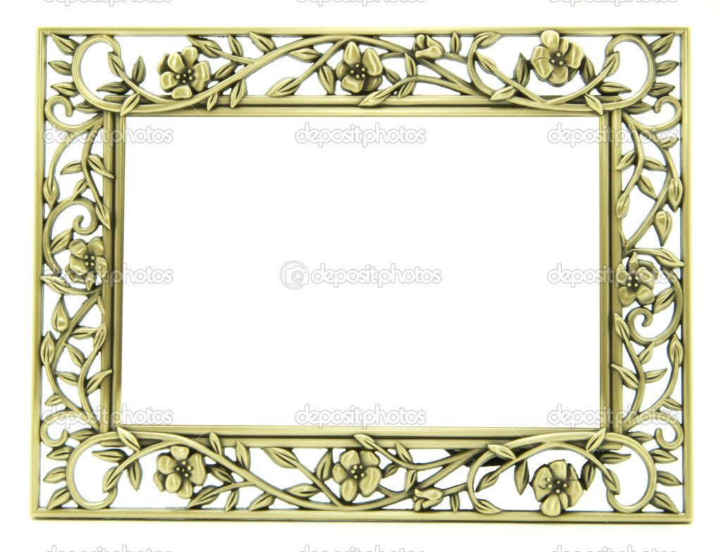 Old antique gold frame over white background — Stock Photo #2073312