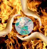 World in fire — Stock Photo
