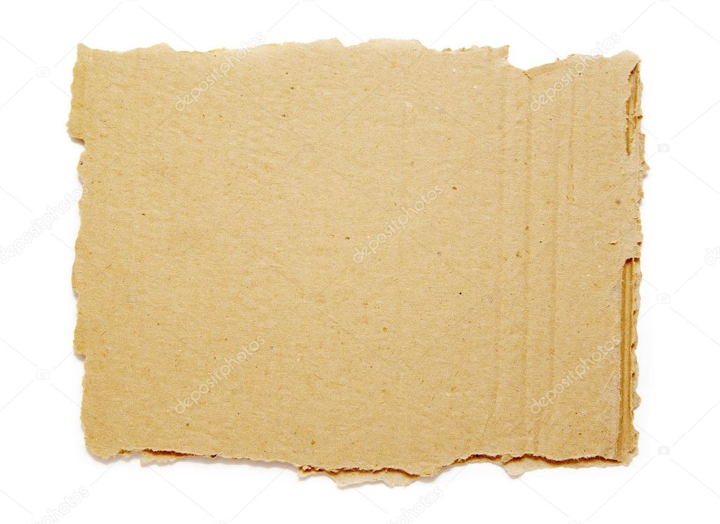 Piece of brown corrugated cardboard on white — Stock Photo #2184272