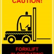 Forklift in operating - sign — Stock Vector