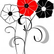 Royalty-Free Stock 矢量图片: Bunch of red, white and black flowers