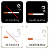 No Smoking & Smoking Area - signs — Stock Vector