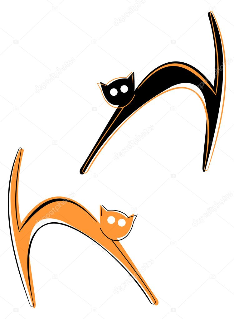 Black and red cats. Vector color illustration. — Stock Vector #1038033