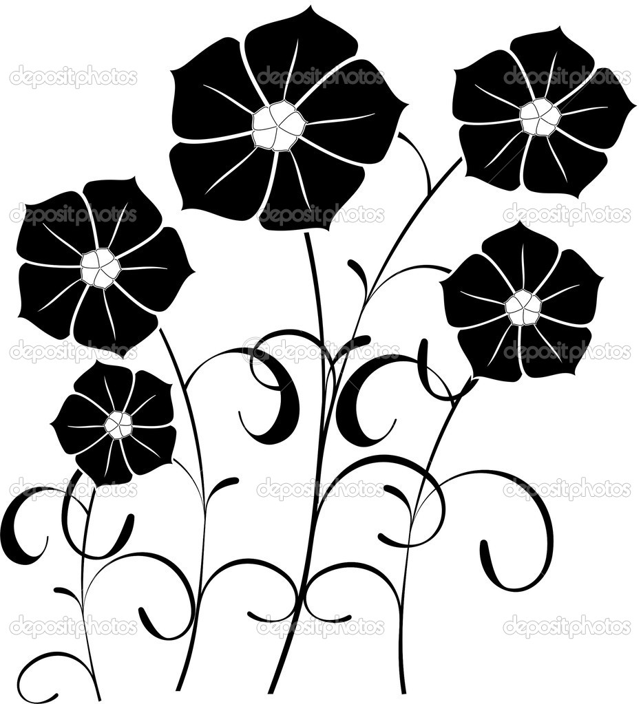 Силуэт цветов картинки 2