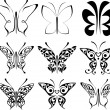 Royalty-Free Stock Vector Image: Set of tattoo butterflies