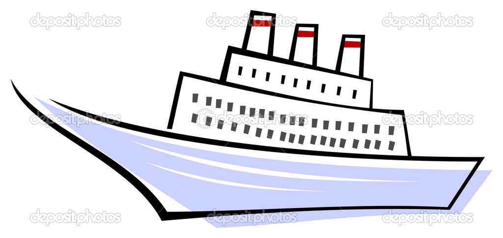 Stylized vector image of sailing ocean liner. Sailing boat. Color illustration, design element. Isolated, White background. — Stock Vector #1040114