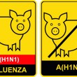 Swine flu - warning sign — Stock Vector